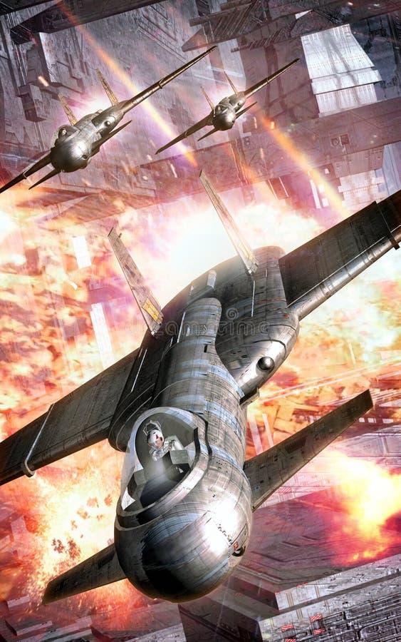 Станция сражения нападения бойца космоса иллюстрация вектора