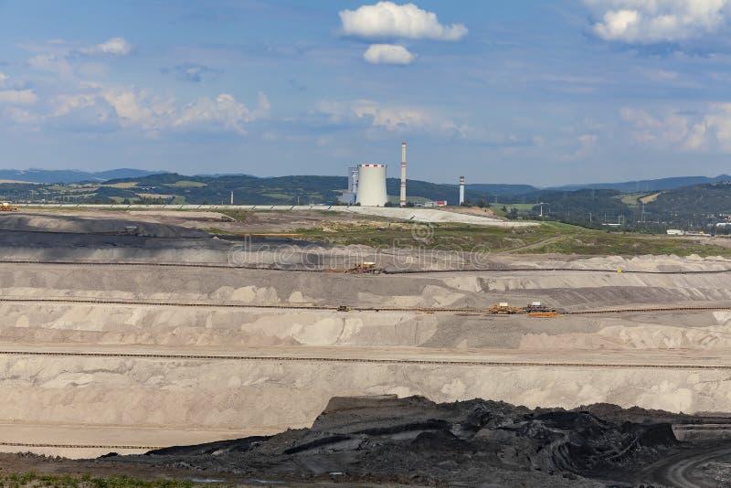 Станция тепловой мощности, регион добычи угля северо-западной Богемии, чехии стоковые фото