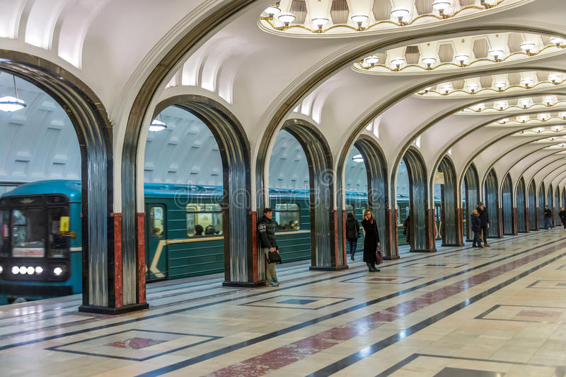 Станция Mayakovskaya в Москве стоковое изображение