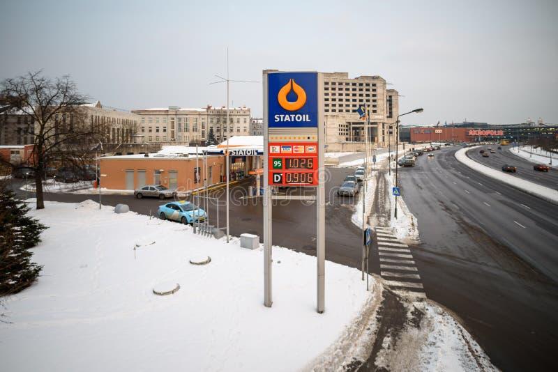 Станция Statoil компании распределения нефти в Каунасе, Литве стоковое изображение