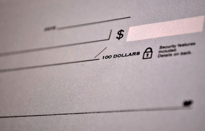 Стандартный банковский чек стоковое изображение rf