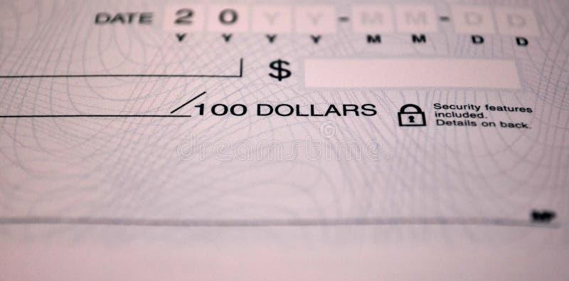 Стандартный банковский чек стоковые изображения rf