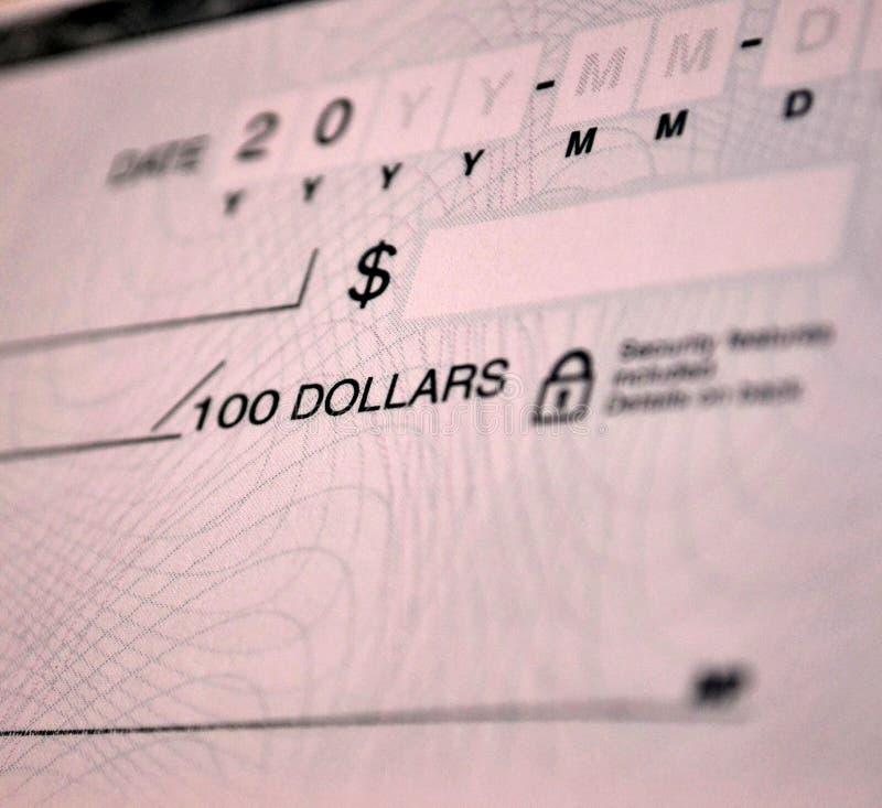 Стандартный банковский чек стоковая фотография