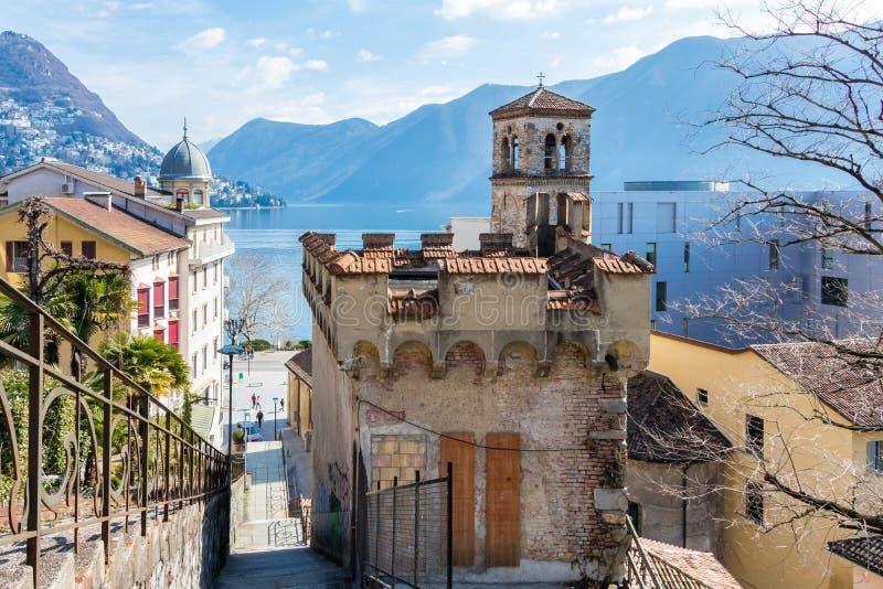 Старая архитектура в городе Лугано, Швейцарии стоковое фото rf
