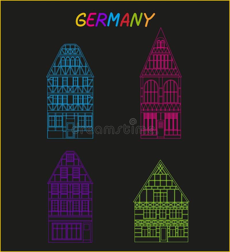 Старая архитектура Германии иллюстрация вектора