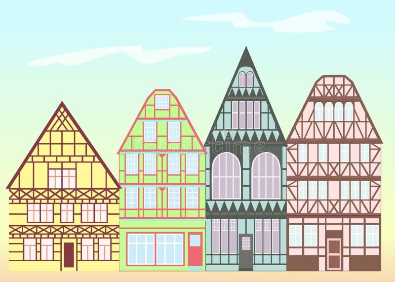 Старая архитектура Германии иллюстрация штока