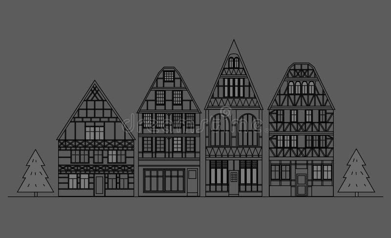 Старая архитектура Германии бесплатная иллюстрация