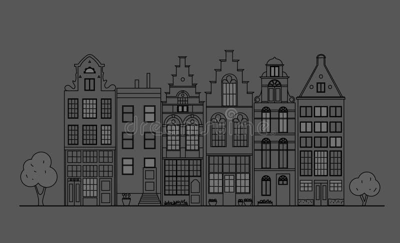 Старая архитектура Голландии иллюстрация вектора