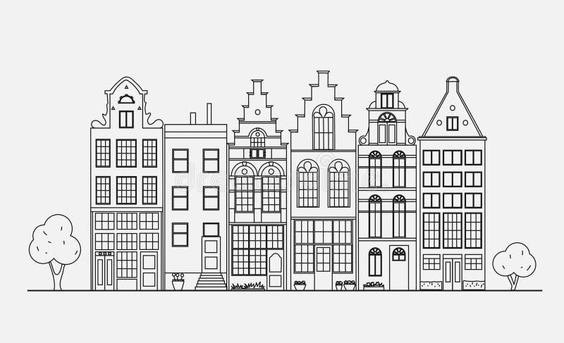 Старая архитектура Голландии иллюстрация штока