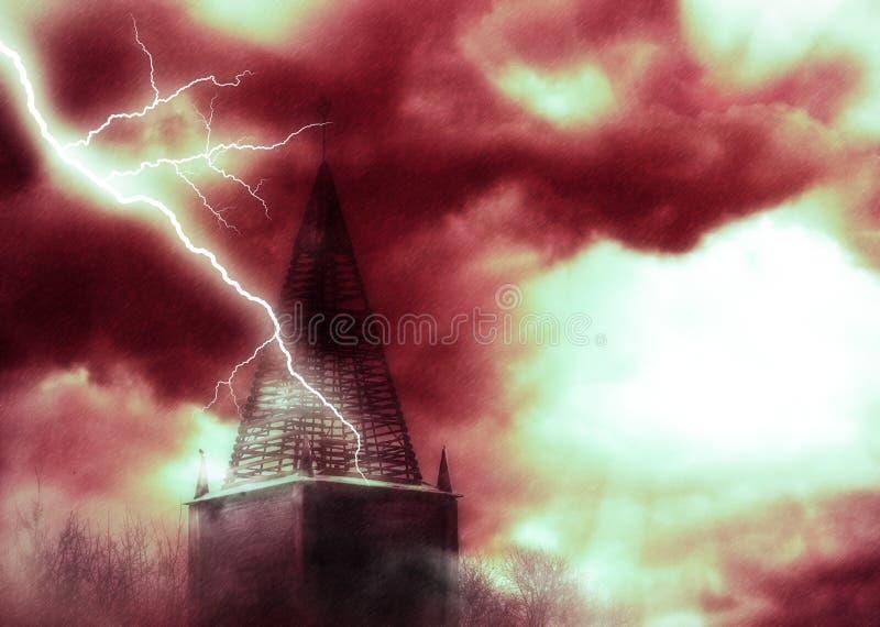 Старая башня и thunderbolts иллюстрация штока
