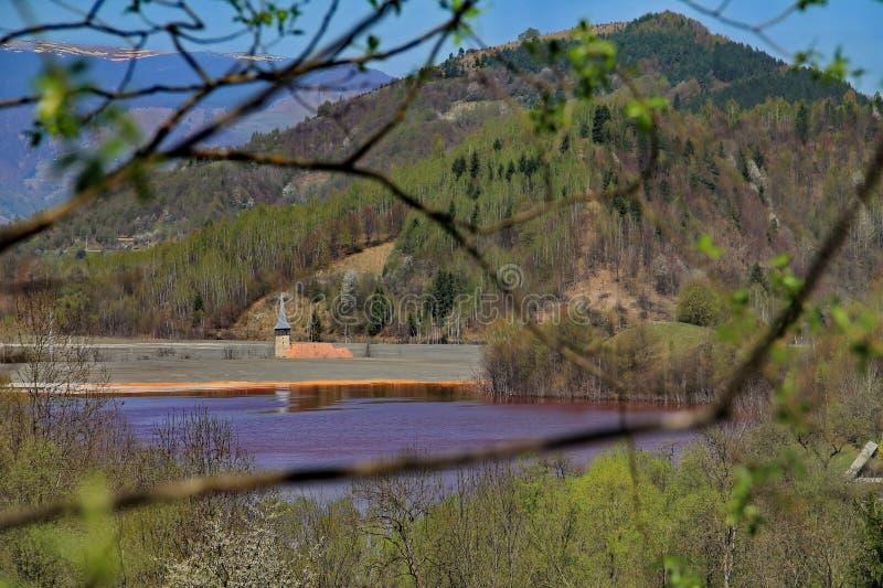 Старая башня церков в загрязненном озере стоковое фото rf