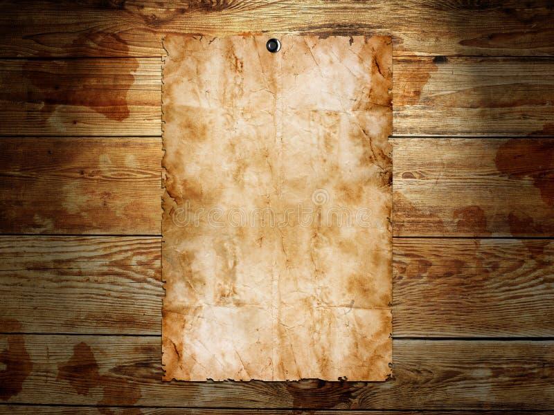 Старая бумага на древесине стоковое изображение rf