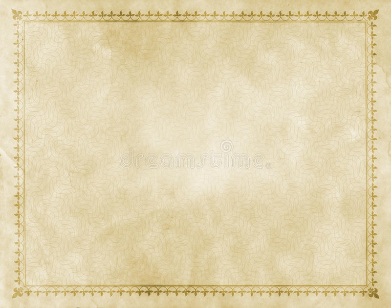 Старая бумага с декоративной винтажной границей стоковое фото