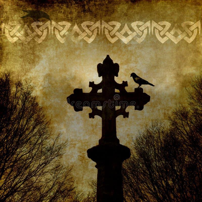 Старая бумага grunge с кельтским крестом иллюстрация вектора