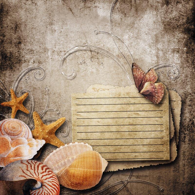 старая бумажная предпосылка с красивыми раковинами моря стоковые изображения rf