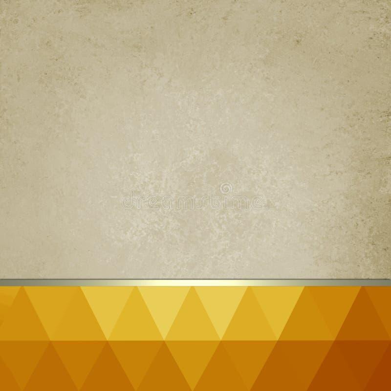 Старая бумажная предпосылка с яркой сноской апельсина и золота низкими поли и лентой золота иллюстрация штока