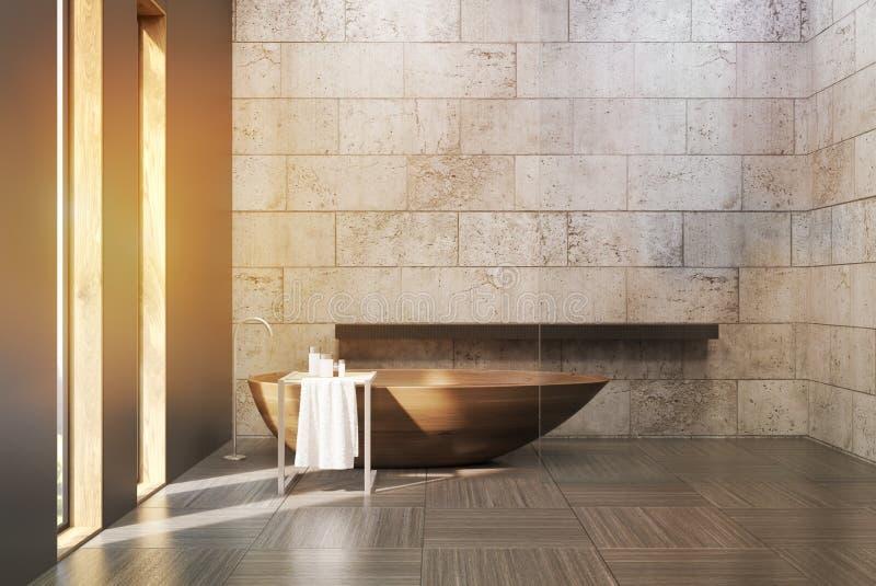 Старая ванная комната при тонизированные бетонные стены, иллюстрация штока