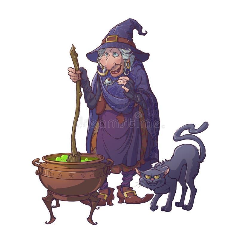 Старая ведьма в шляпе конуса при ее черный кот заваривая волшебное зелье в котле Характер стиля шаржа хеллоуина иллюстрация вектора