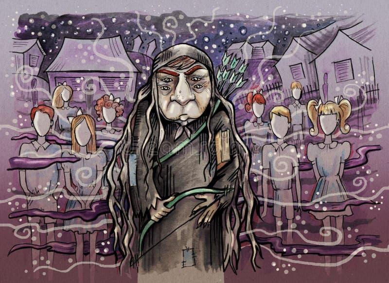 Старая ведьма с 2 парами глаз иллюстрация штока