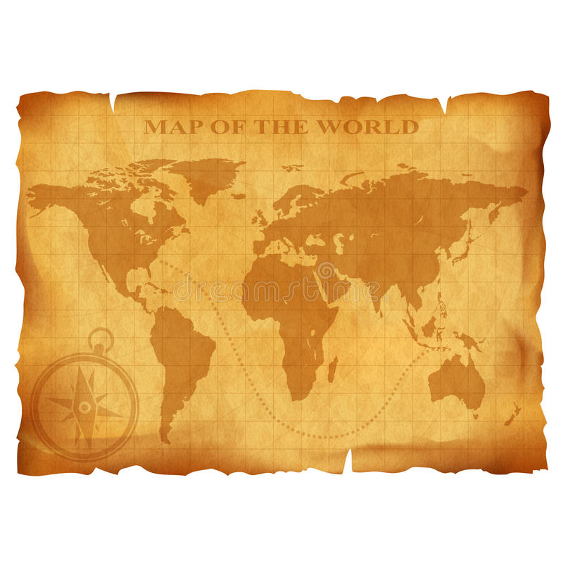 Старая винтажная карта мира стародедовская рукопись текстура grunge бумажная иллюстрация штока