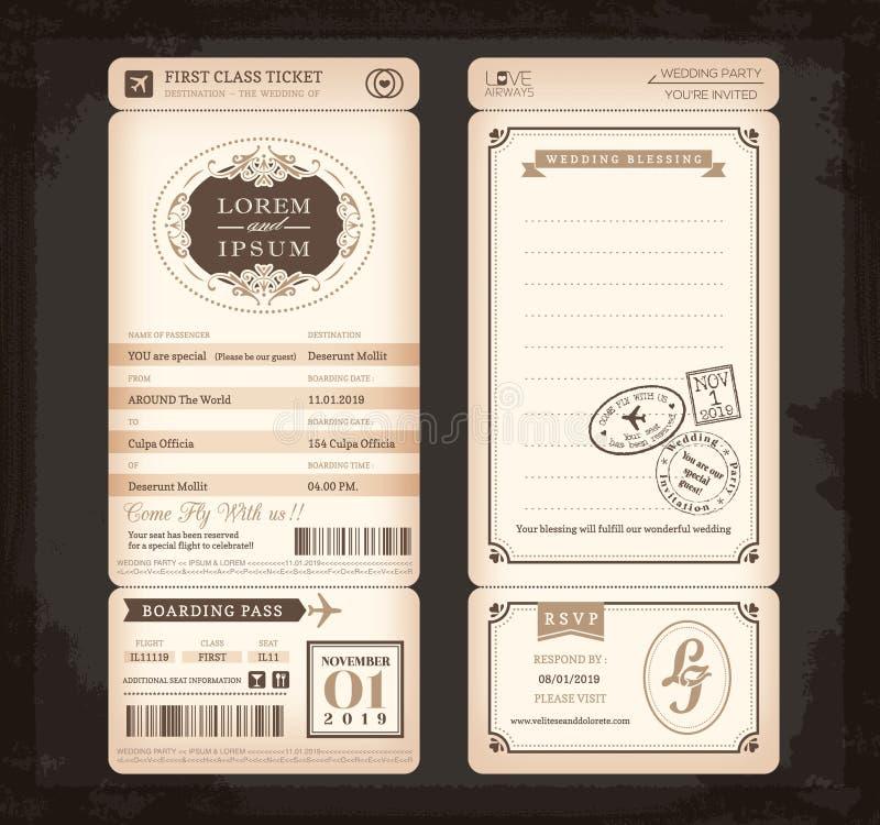 Старая винтажная карточка свадьбы билета посадочного талона стиля иллюстрация штока