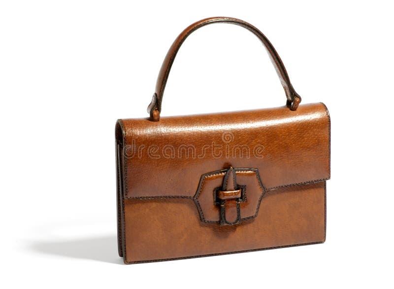 Старая винтажная коричневая кожаная сумка стоковая фотография rf