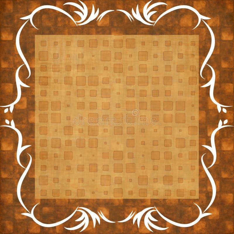 Старая винтажная шотландка тартана в коричневом цвете с белой рамкой иллюстрация вектора