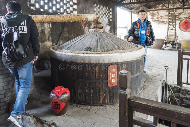 Старая выгонка в мастерской вина Sanbai стоковое фото rf