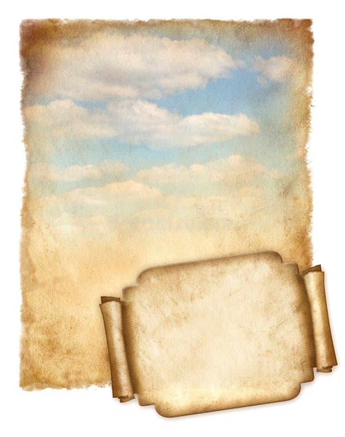 Старая в настоящее время будучи обрабатыванным бумага с голубым небом и banner.jpg иллюстрация штока
