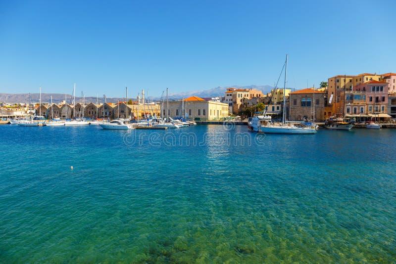 Старая гавань в Chania, Греции стоковое изображение rf