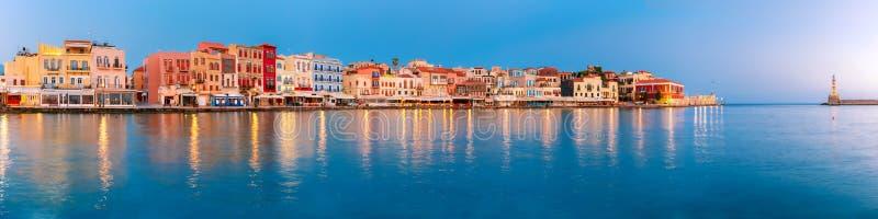 Старая гавань на восходе солнца, Chania, Крит, Греция стоковые фотографии rf