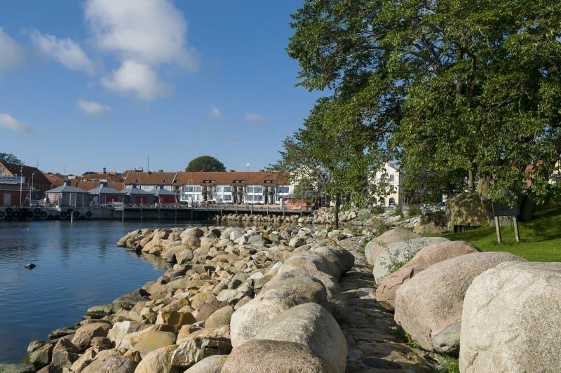 Старая гавань Simrishamn стоковое изображение