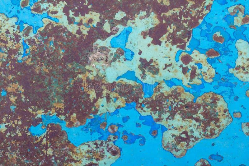 Старая голубая стена утюга краски Ржавая металлическая поверхность иллюстрация штока