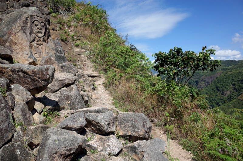 Старая гора высекая около парка San Agustin археологического стоковые фотографии rf