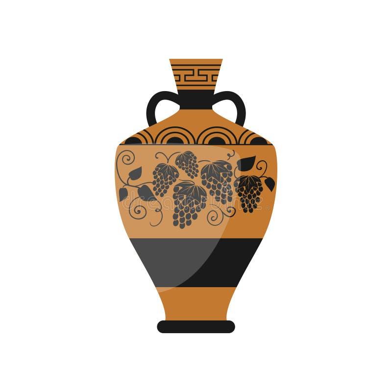 Старая старая греческая ваза вина с орнаментальными виноградинами бесплатная иллюстрация