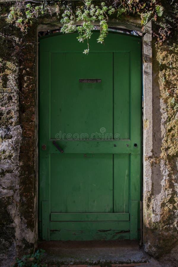 старая двери зеленая стоковые фотографии rf
