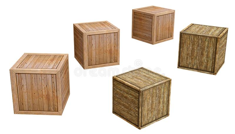 Старая деревянная коробка изолированная на белой предпосылке, переводе d бесплатная иллюстрация