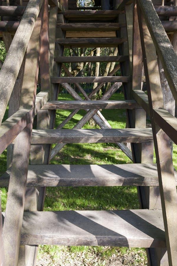Старая деревянная лестница стоковые изображения