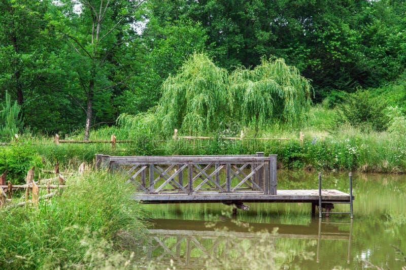 Старая деревянная пристань на озере леса Вокруг поля и леса стоковое изображение