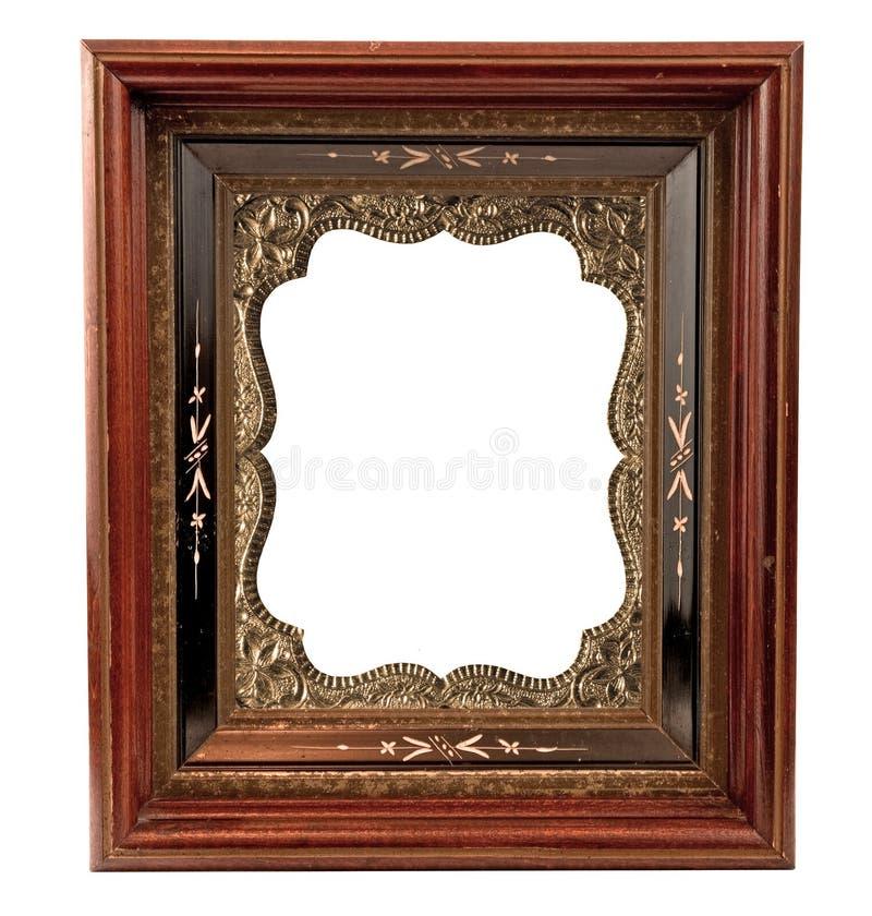 Старая деревянная рамка с приукрашиванием стоковая фотография rf