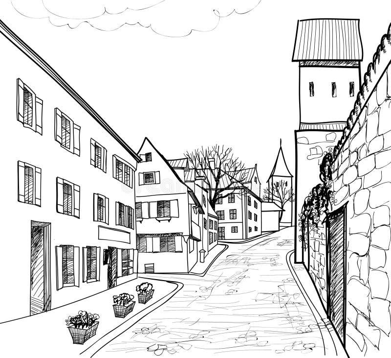 Старая европейская улица городка. бесплатная иллюстрация