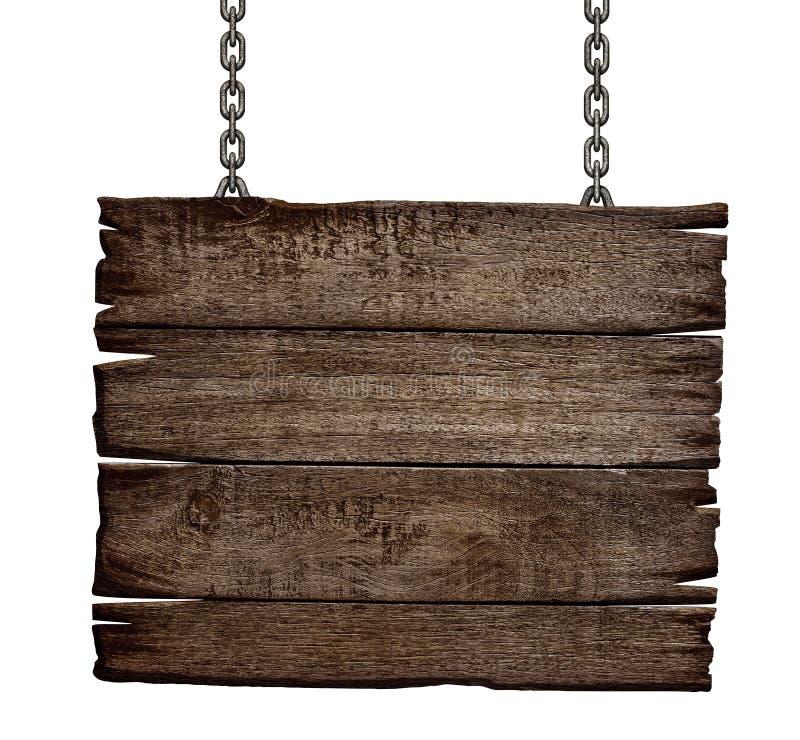 Старая деревянная доска знака на цепи стоковые фотографии rf