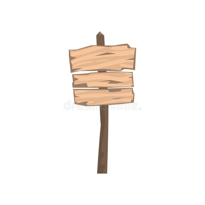 Старая деревянная пустая иллюстрация вектора доски предупредительного знака иллюстрация штока