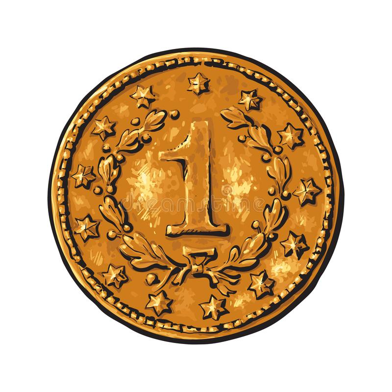 Старая золотая монетка иллюстрация штока