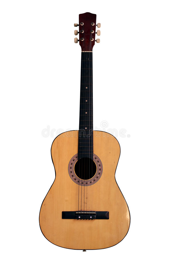 Старая изолированная гитара стоковая фотография rf
