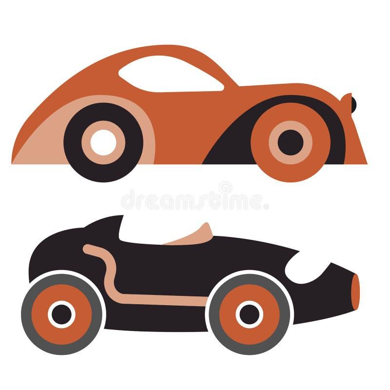 Старая иллюстрация автомобилей на темной предпосылке иллюстрация вектора