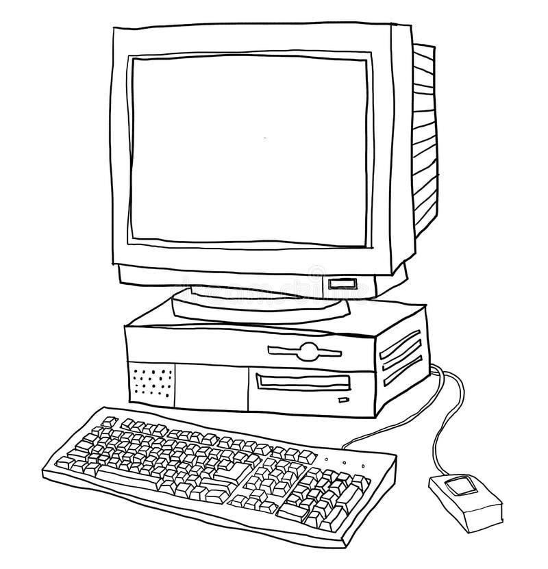Старая линия иллюстрация настольного компьютера компьютера искусства иллюстрация штока