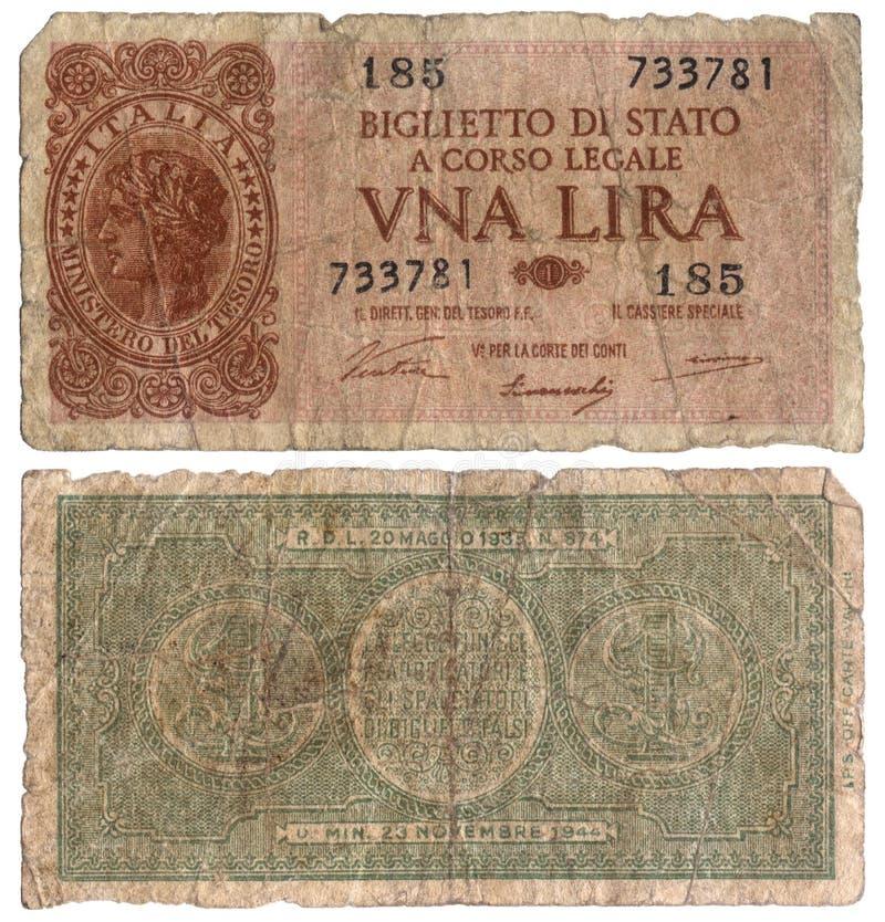 Старая итальянская банкнота - одна лира 1933 стоковое фото
