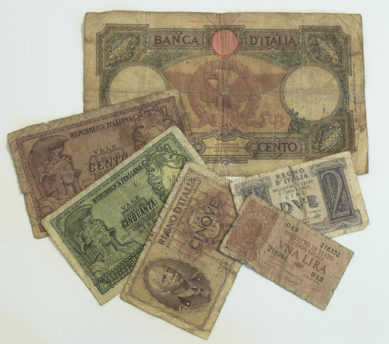 Старая итальянская лира стоковая фотография rf