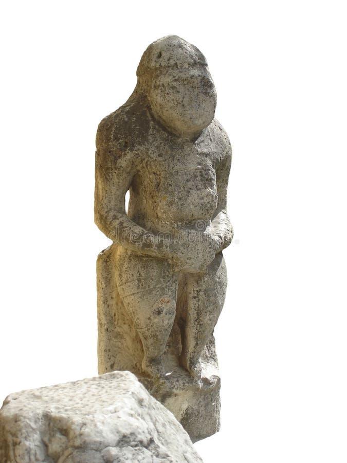 Старая каменная безликая статуя Бабы polovets (женщина polovets) стоковое фото